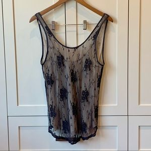 Aritzia Wilfred Nude Tank With Black Lace Overlay